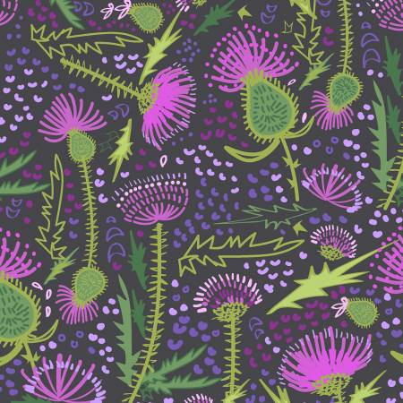 Fabric, Thistle Patch Dark Brown Garden Y3064-16
