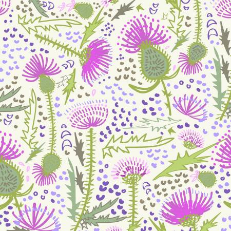 Fabric, Light Cream Garden, Thistle Patch y3064-2