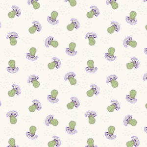 Fabric, Khaki Flower Heads Thistle Patch Collection Y3066-11