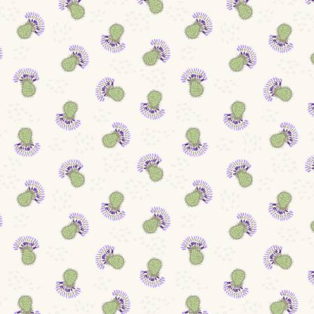 Fabric, Thistle Patch, Khaki Flower Heads  Y3066-11