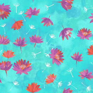 Fabric, Good Vibes, Aqua Water Lilies Y3120-33