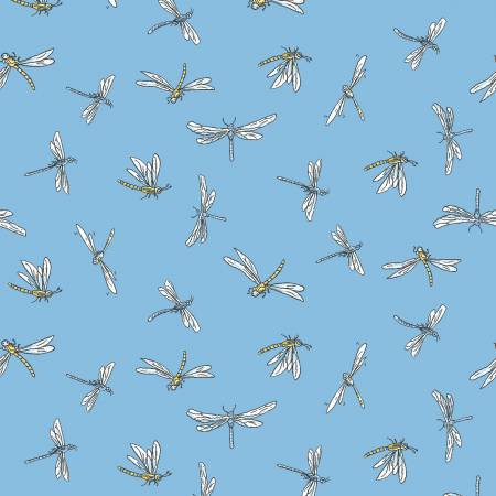 Fabric, Leap Frog, Blue Dragonflies Y3127-88