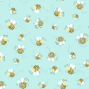 Fabric, Bees Blue Background SB20197-930