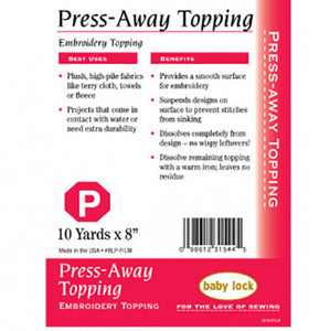 Embroidery Stabilizer Press Away Topping