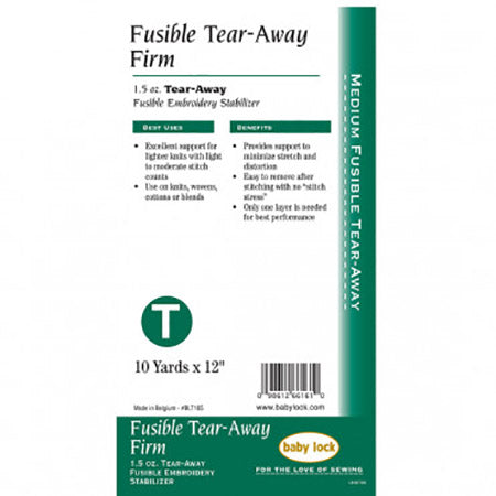 Embroidery Stabilizer Fusible Tear Away Firm