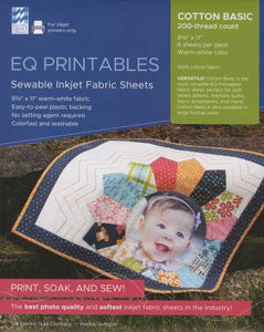 EQ Printables Inkjet Fabric Sheets, 6 pack