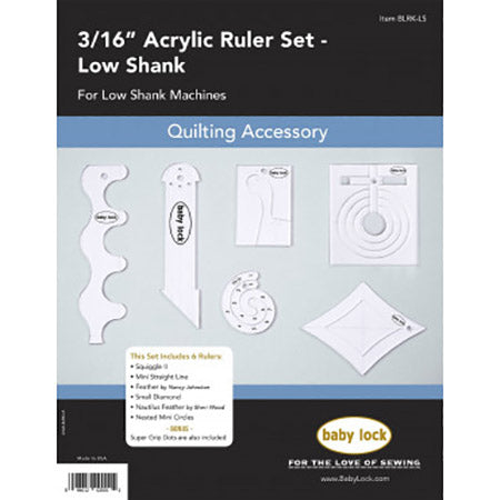 Sewing Machine Accessory Free Motion Quilting Ruler Set- Low Shank BLRK-LS
