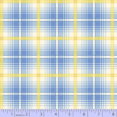 Fabric Flannel ,Primo Plaids Aunt Grace Blue and Gold U096-0122