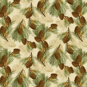 Fabric, Holiday, Festive Forest Pine Cones Q3007 68477-127