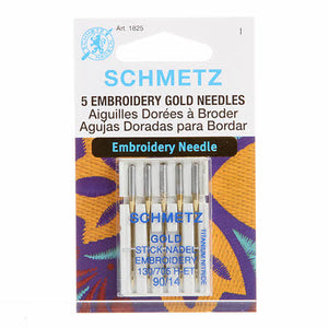 Schmetz Gold Titanium Embroidery Machine Needle Size 14/90 5ct # 1825