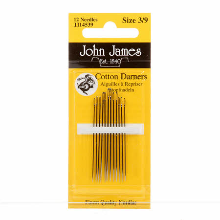 John James Cotton Darners Needles Assorted Sizes 3/9 12ct