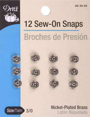 Snap Sew-on Size 3/0 Nickel