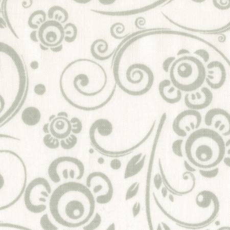 "Fabric, 108"" Wide Back Grey/White Tone on Tone Scroll"