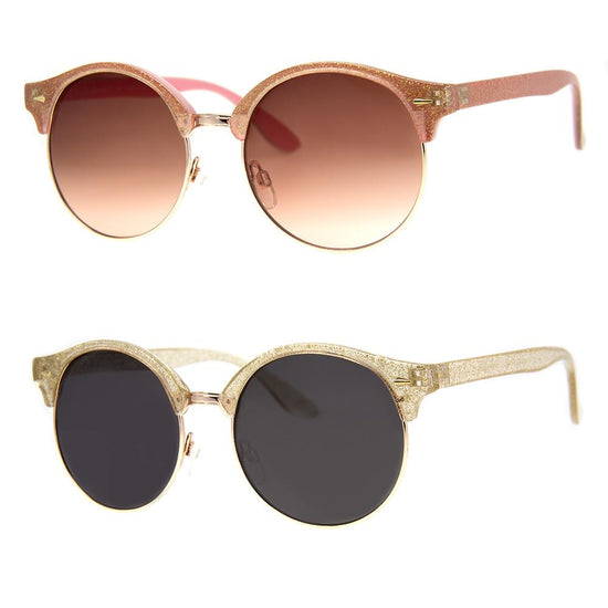 2 PC SUNGLASS BUNDLE - SEE THE WORLD - CRYSTAL GLITTER, PINK GLITTER