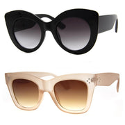 2 PC SUNGLASS BUNDLE - OVERSIZED GLAM - BLACK, CHAMPAGNE