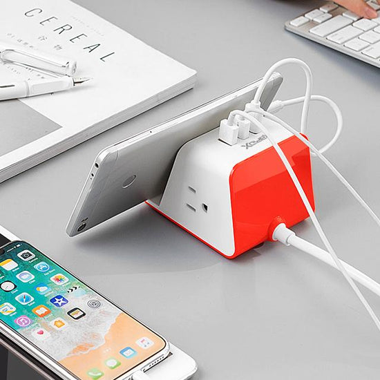 MyDesktop Wireless Charging Stand with 3 USB Ports & 2 Power Outlets