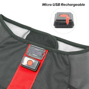 Small Red LED Rechargeable Dog Vest