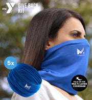 YMCA GIVE BACK KIT | 5-PACK ADULT CLASSIC 12-IN-1 GAITER | BLUE