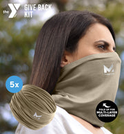 YMCA GIVE BACK KIT | 5-PACK ADULT CLASSIC 12-IN-1 GAITER | SAND