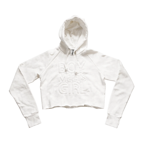 BOY MEETS GIRL® Raw Edge Recycled White Hoodie