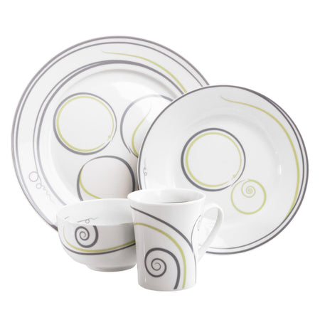 Livliga Vivente 4-Piece Portion Control Dinnerware Set, Grey & Green, Individual Place Setting