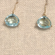 Crystal Drop Earring-Aquamarine/Gold