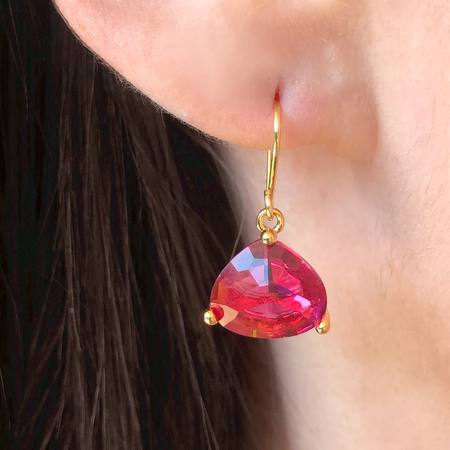 Crystal Drop Earring-Garnet/Gold
