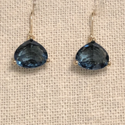 Crystal Drop Earring-Sapphire/Gold