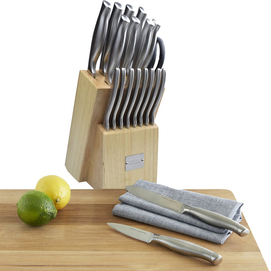 Emeril 18 Piece Stainless Steel and Natural Block Block Set