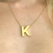Garamond Diamond Initial Necklace-Gold