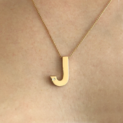 Garamond Diamond Initial Necklace-Rose Gold