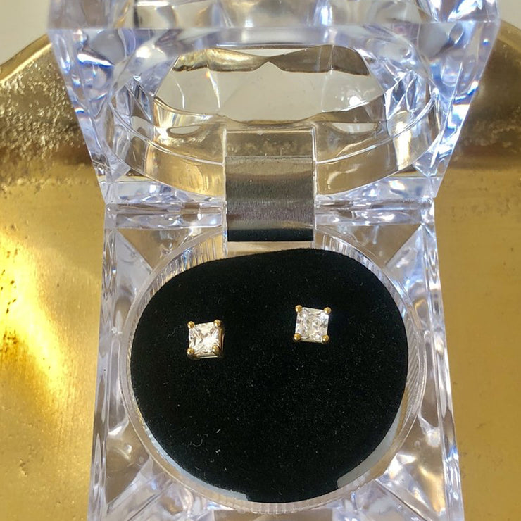 Glamour 1/4 Carat Square Cut CZ Stud Earring