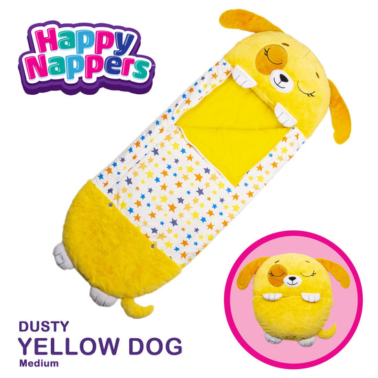 Happy Nappers™ Play Pillow & Sleepy Sack For Kids - MEDIUM - Yellow Dog