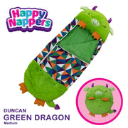 Happy Nappers™ Play Pillow & Sleepy Sack For Kids - MEDIUM - Green Dragon