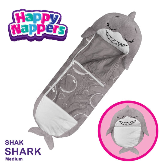 Happy Nappers™ Play Pillow & Sleepy Sack For Kids - MEDIUM - Gray Shark