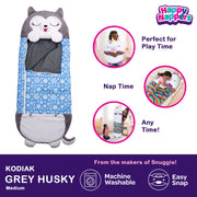 Happy Nappers™ Play Pillow & Sleepy Sack For Kids - MEDIUM - Gray Husky