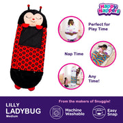 Happy Nappers™ Play Pillow & Sleepy Sack For Kids - MEDIUM - Red Ladybug