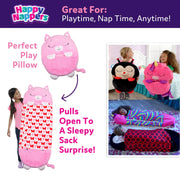Happy Nappers™ Play Pillow & Sleepy Sack For Kids - MEDIUM - Pink Kitty