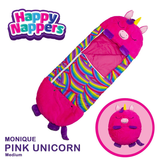 Happy Nappers™ Play Pillow & Sleepy Sack For Kids - MEDIUM - Pink Unicorn