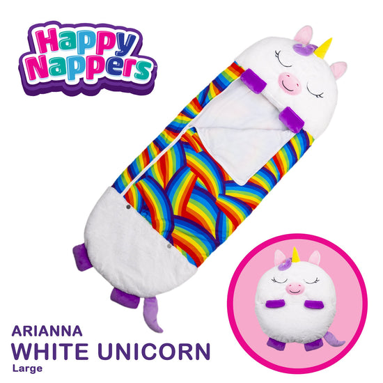 Happy Nappers™ Play Pillow & Sleepy Sack For Kids - LARGE - White Unicorn