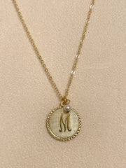 Stocking stuffer! Signature Initial Necklace w/ Pearl Drop-Gold Plate
