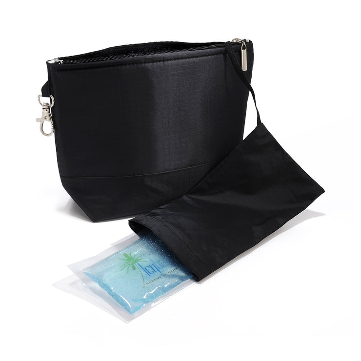 Icybag cooling cosmetic bag with 2 gel packs (Black)