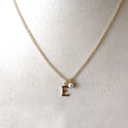 Lisette Initial Necklace with Pearl Drop-Gold
