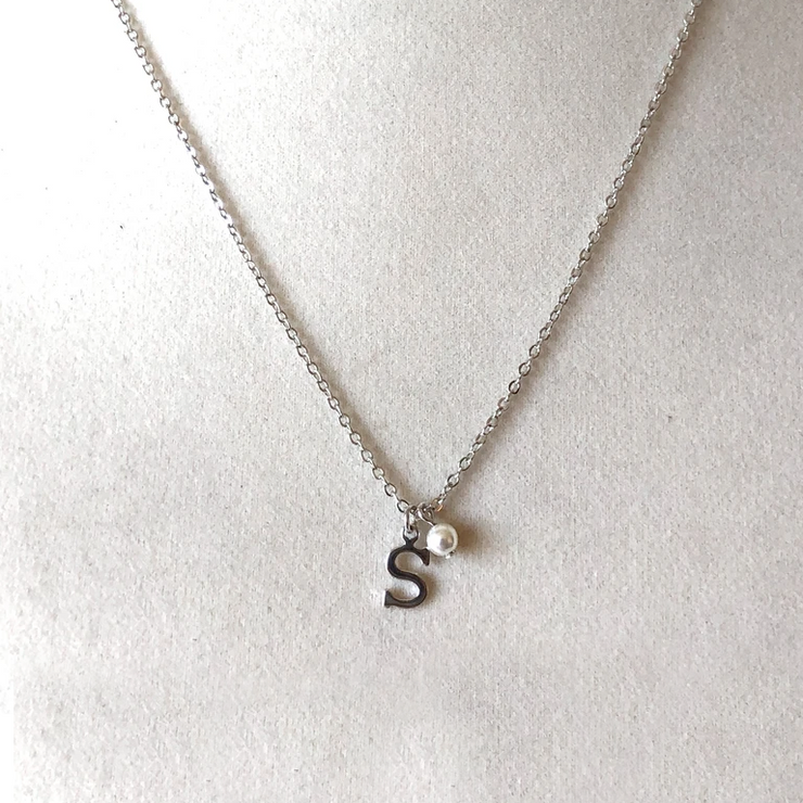 Lisette Initial Necklace with Pearl Drop-Silver