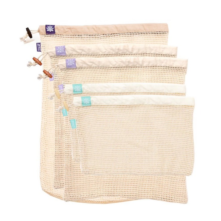 Lotus Produce Bags - 100% Organic Cotton - Set of 5