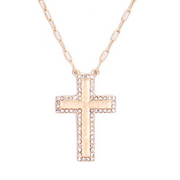 Matte Finish Crystal Cross Necklace