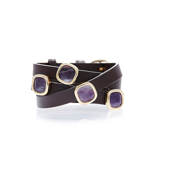 Brown Leather with Amethyst Gemstone Wrap Bracelet