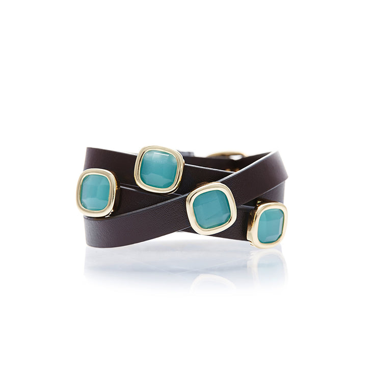 Brown Leather with Peru Chalcedony Gemstone Wrap Bracelet