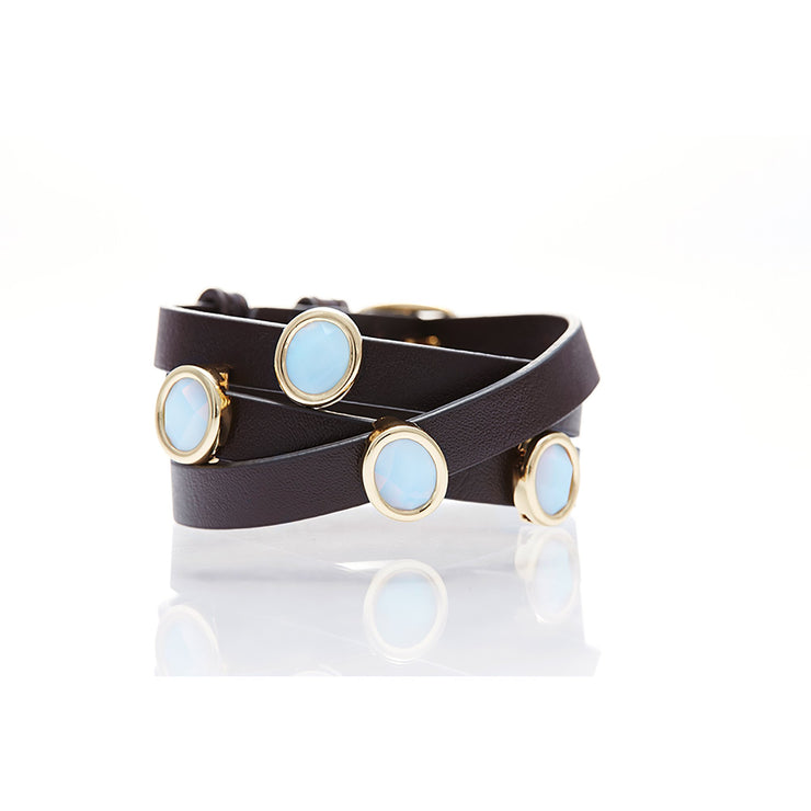 Brown Leather with White Chalcedony Gemstone Wrap Bracelet