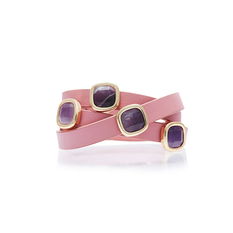 Pink Leather with Amethyst Gemstone Wrap Bracelet
